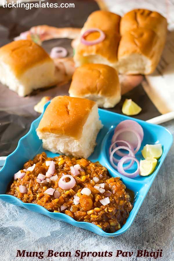 moong beans sprouts pav bhaji