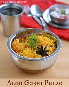 Aloo Gobhi Pulao Recipe Potato Cauliflower Pilaf (Rice)