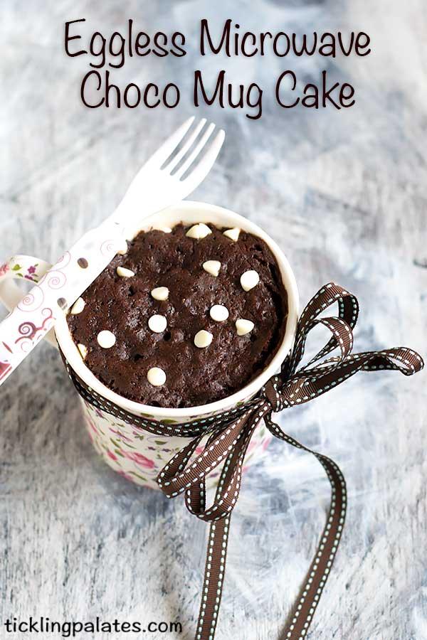 2 mins eggless microwave chocolate mug cake recipe
