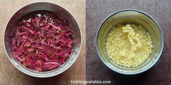 keerai thandu poriyal recipe step2