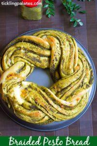 Braided Pesto Bread Recipe – Eggless Pesto Wreath Bread