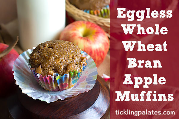 eggless whole wheat bran apple muffin recipe