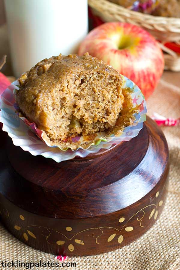 eggless whole wheat bran apple muffins