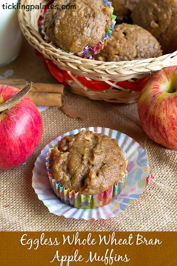 eggless whole wheat bran apple muffins