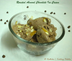 Roasted Almonds Chocolate Ice-Cream | Eggless and Homemade