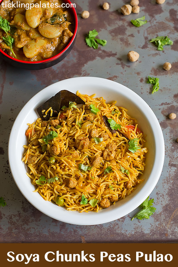 soya chunks peas pulao recipe