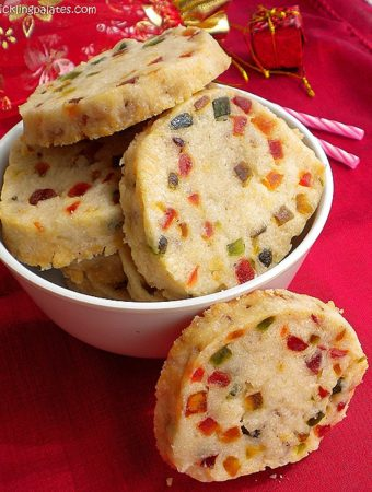 Eggless Slice N Bake Cookies / Eggless Tutti Frutti Cookies (Vegan)