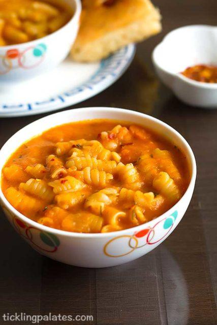 spicy tomato pasta soup recipe
