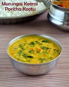 Murungai Keerai Poricha Kuzhambu | Drumstick Leaves Poricha Kootu Recipe