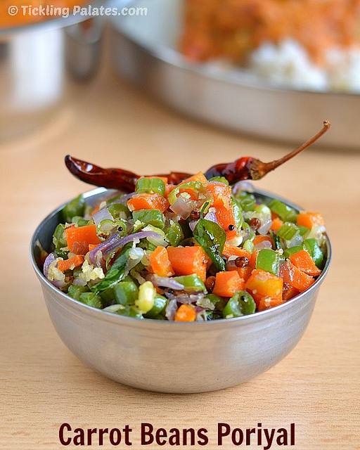 Carrot Beans Poriyal Recipe | Carrot Beans Thoran Recipe