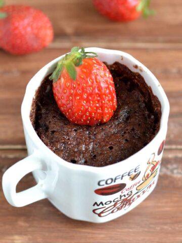 Eggless Chocolate Strawberry Mug Cake Recipe