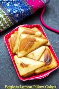 Eggless Lemon Pillow Cake Using Sandwich Maker