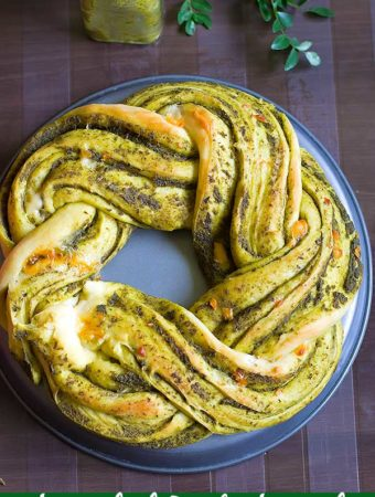 Braided Pesto Bread Recipe – Eggless Pesto Wreath Bread