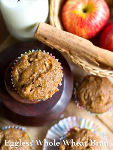 eggless whole wheat bran apple muffins recipe