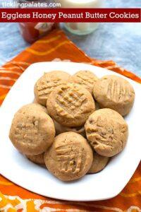 Eggless Organic Honey Peanut Butter Cookies Recipe