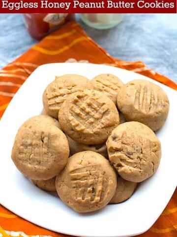 eggless honey peanut butter cookies