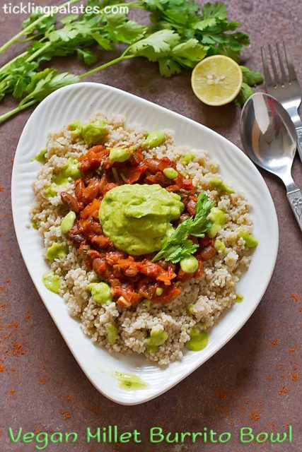 vegan millet burrito bowl recipe