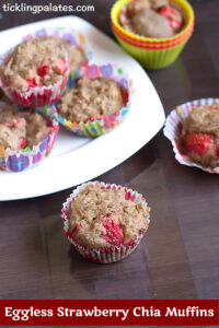 Eggless Strawberry Chia Muffins Recipe with Video