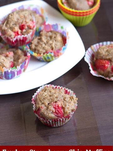 eggless strawberry chia muffins recipe