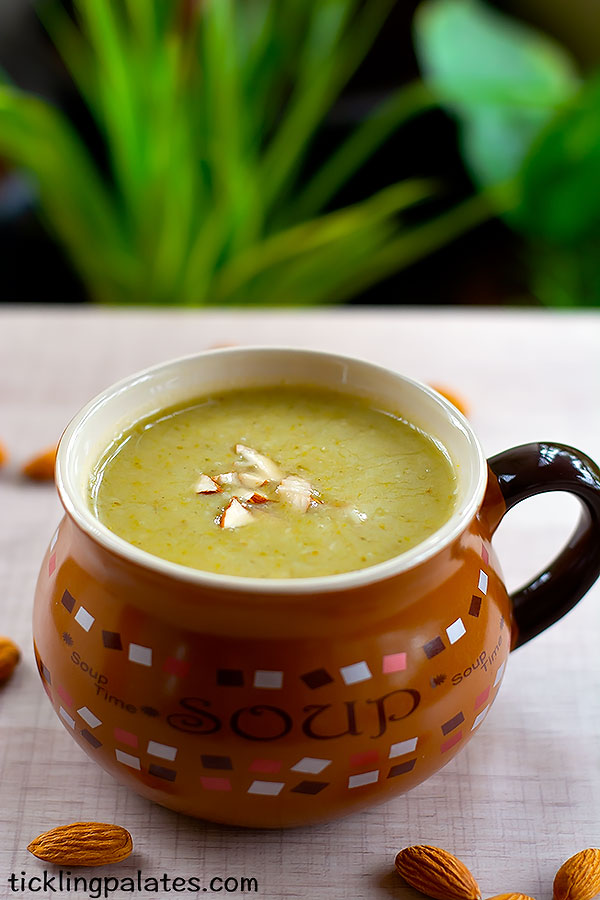 vegan broccoli almond soup